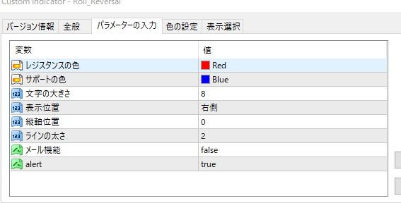 Roll_Reversalのパラーメーター設定画面
