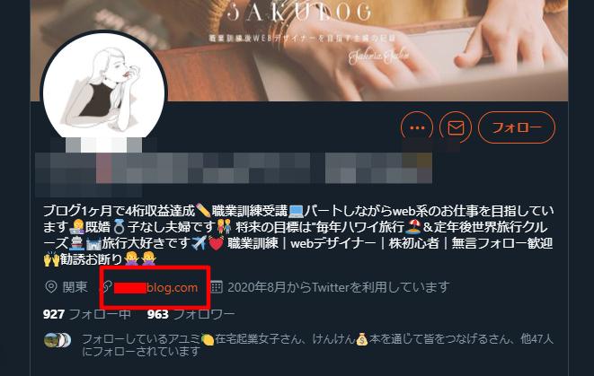プロフィール欄に自分のブログURLを記載しているツイッターアカウント